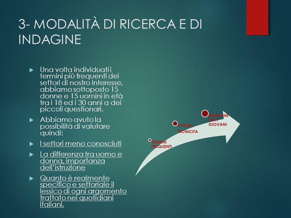 3- MODALITÀ DI RICERCA E DI INDAGINE