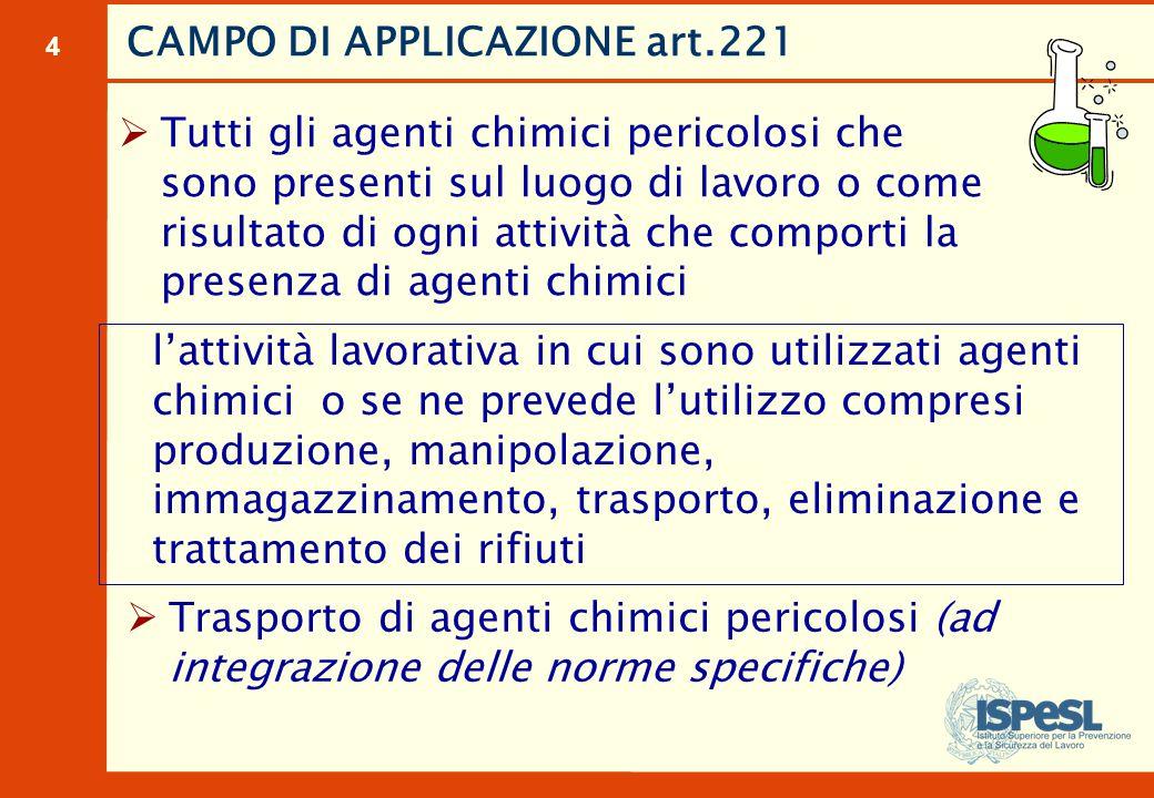 CAMPO DI APPLICAZIONE industrie chimiche laboratori officine