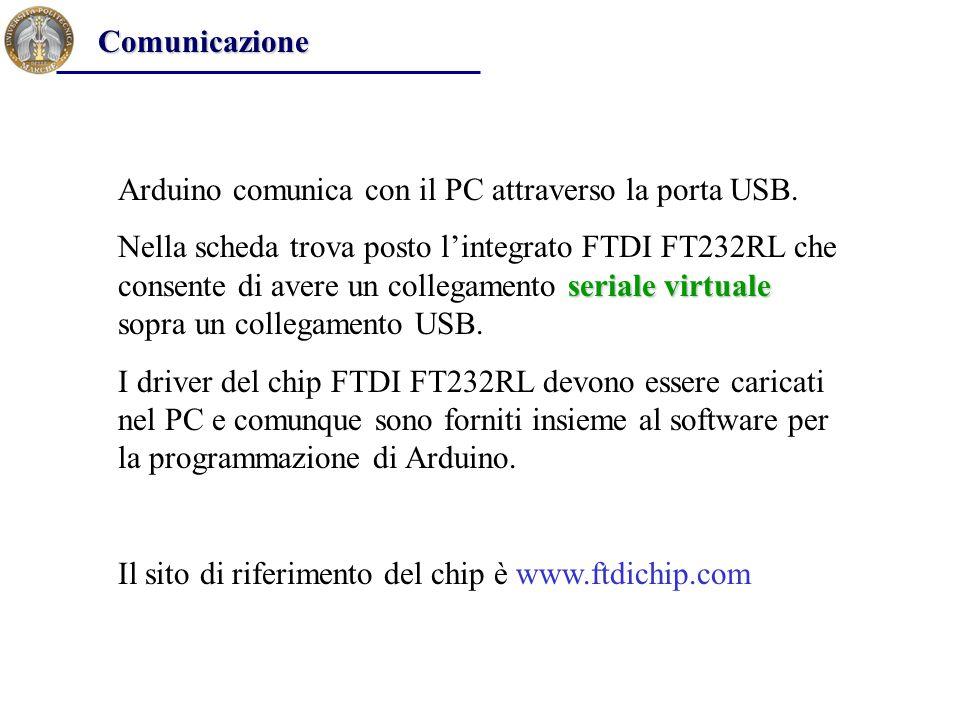 Comunicazione Arduino comunica con il PC attraverso la porta USB.