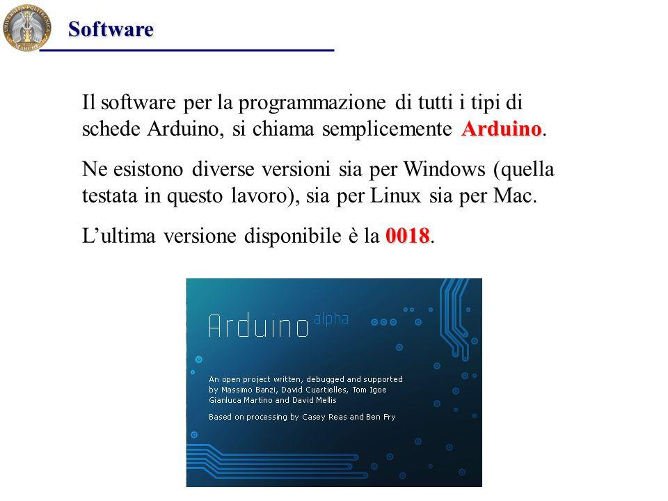 Software Il software per la programmazione di tutti i tipi di schede Arduino, si chiama semplicemente Arduino.