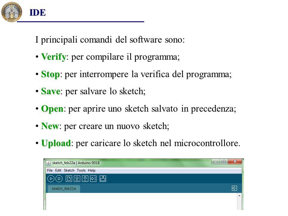 IDE I principali comandi del software sono: Verify: per compilare il programma; Stop: per interrompere la verifica del programma;