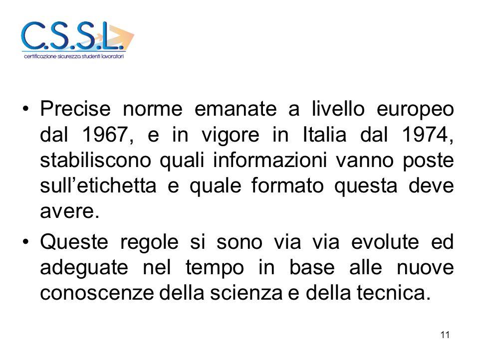 Precise norme emanate a livello europeo dal 1967, e in vigore in Italia dal 1974, stabiliscono quali informazioni vanno poste sull'etichetta e quale formato questa deve avere.