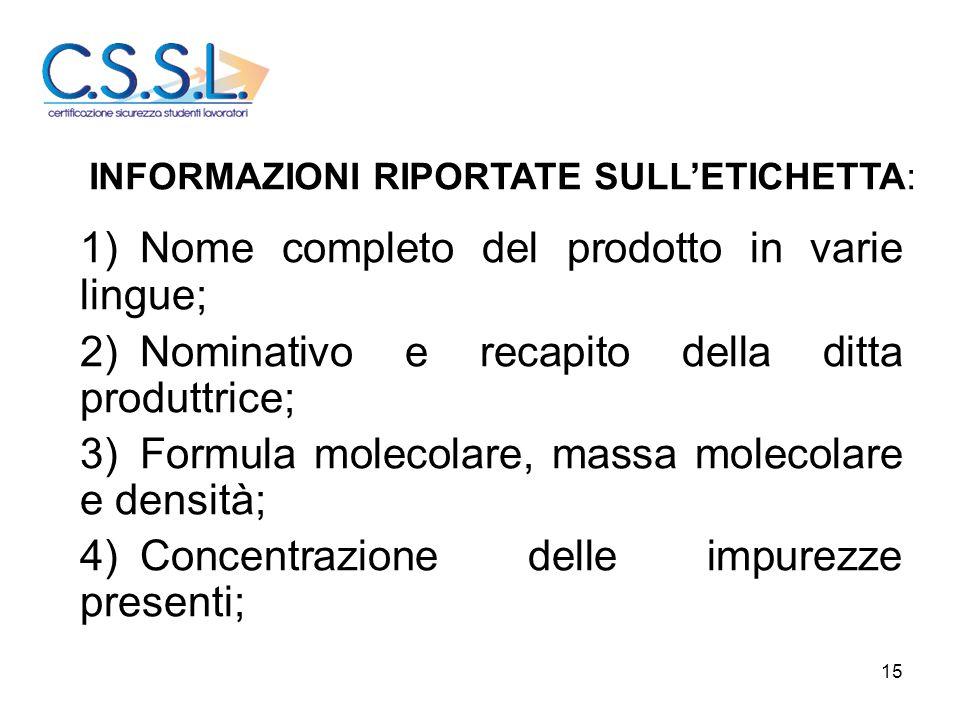 1) Nome completo del prodotto in varie lingue;
