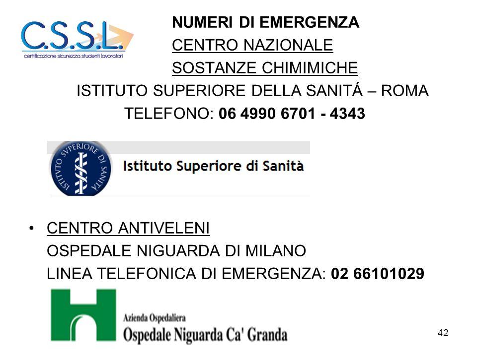 NUMERI DI EMERGENZA CENTRO NAZIONALE. SOSTANZE CHIMIMICHE. ISTITUTO SUPERIORE DELLA SANITÁ – ROMA.