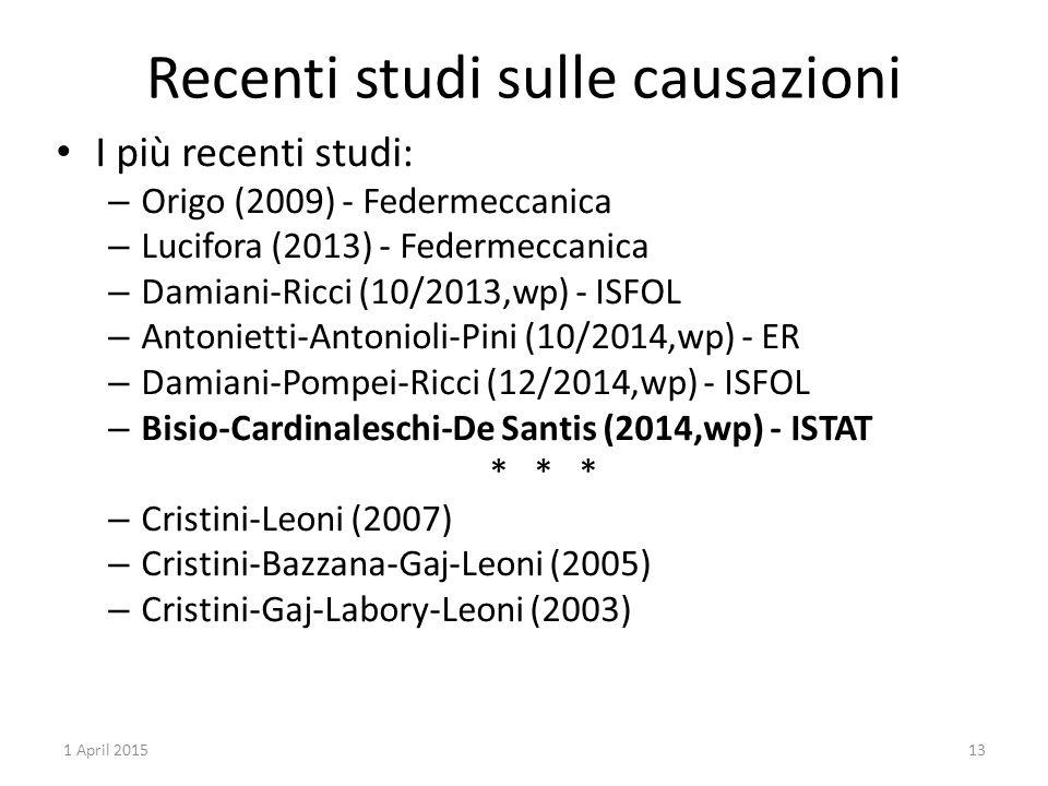 Recenti studi sulle causazioni