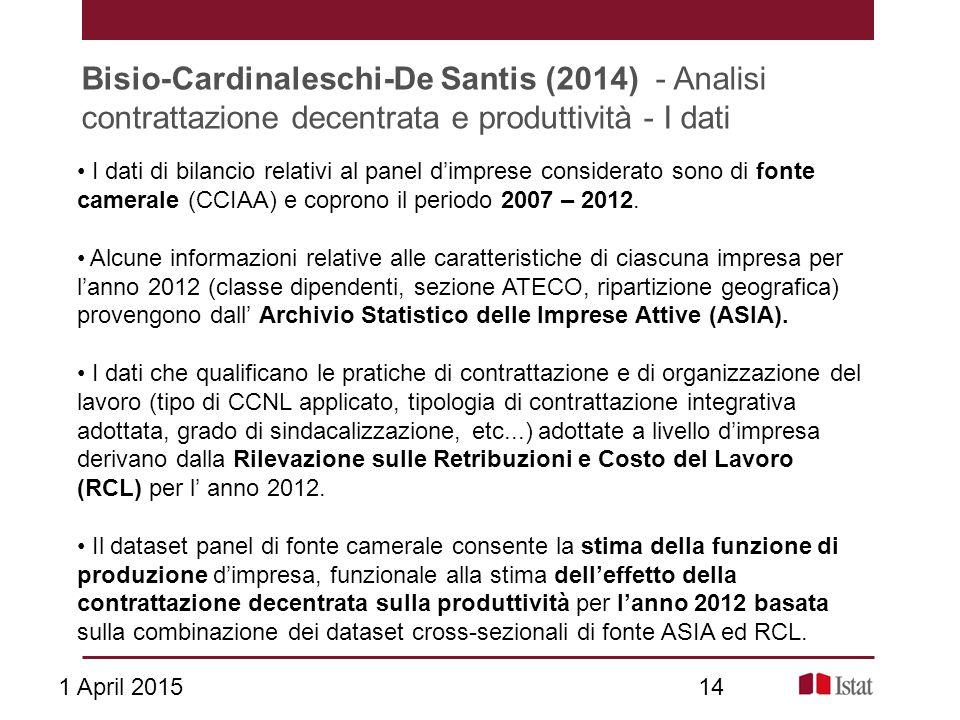 Bisio-Cardinaleschi-De Santis (2014) - Analisi contrattazione decentrata e produttività - I dati