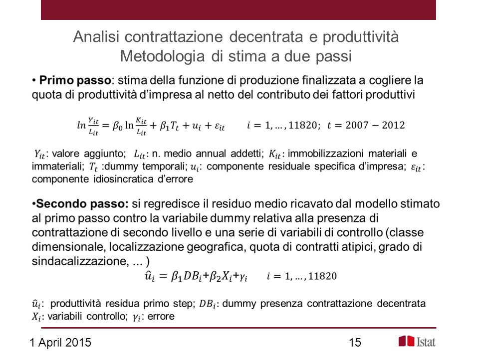 Analisi contrattazione decentrata e produttività Metodologia di stima a due passi