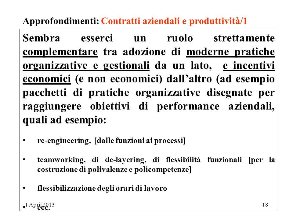 Approfondimenti: Contratti aziendali e produttività/1
