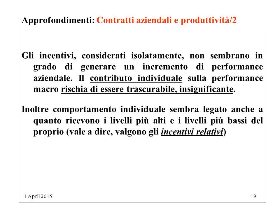 Approfondimenti: Contratti aziendali e produttività/2