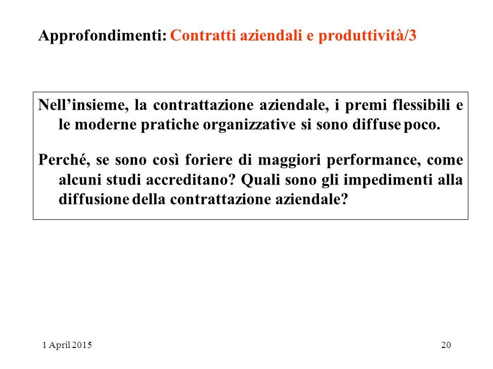 Approfondimenti: Contratti aziendali e produttività/3