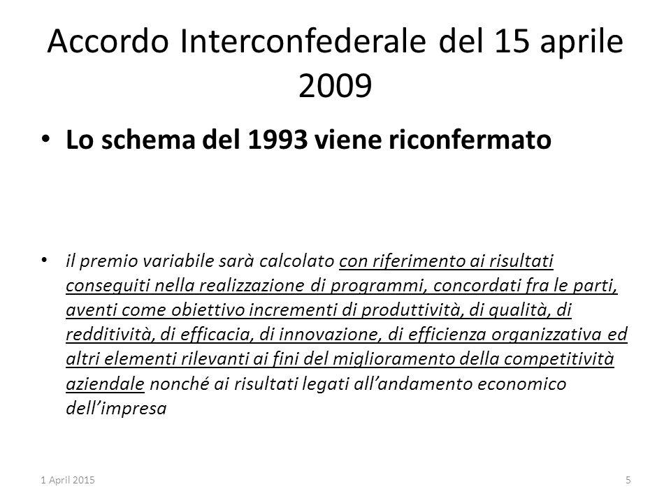 Accordo Interconfederale del 15 aprile 2009