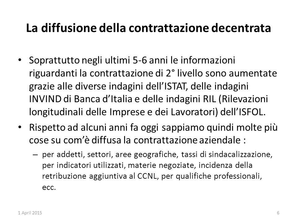La diffusione della contrattazione decentrata