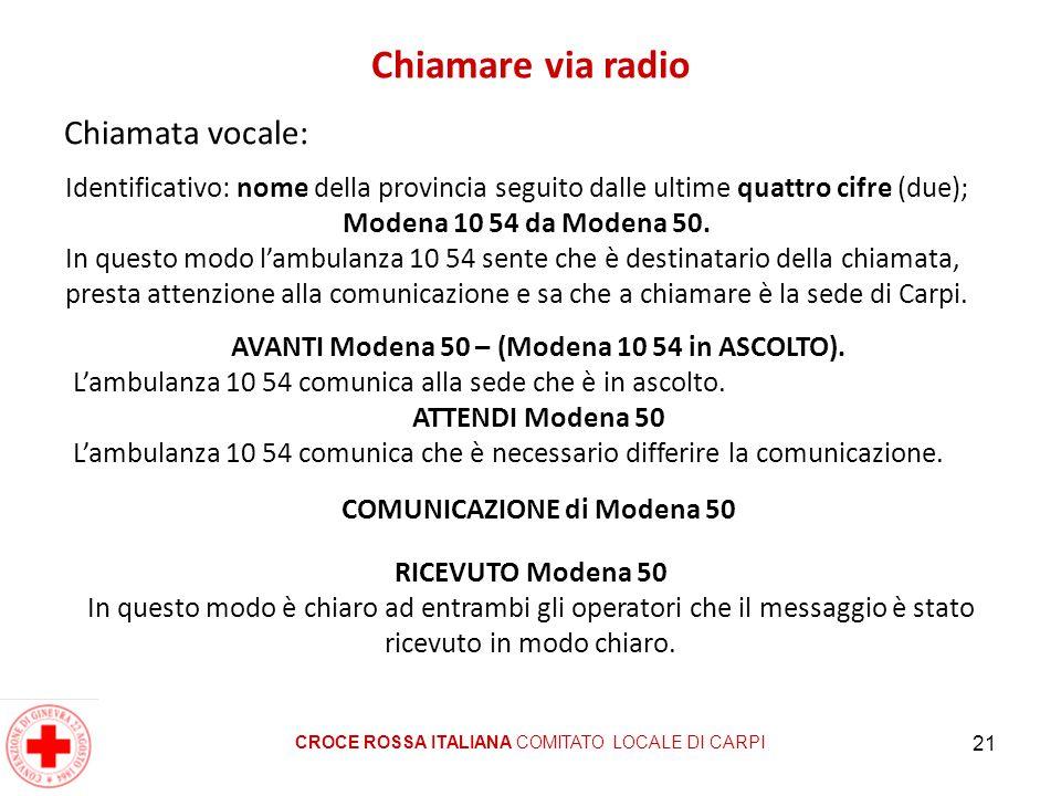 Chiamare via radio Chiamata vocale: