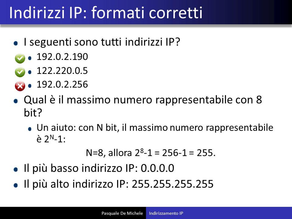 Indirizzi IP: formati corretti