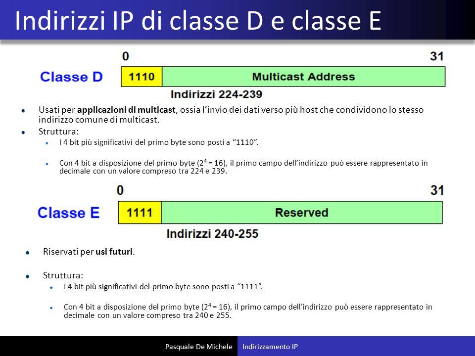 Indirizzi IP di classe D e classe E