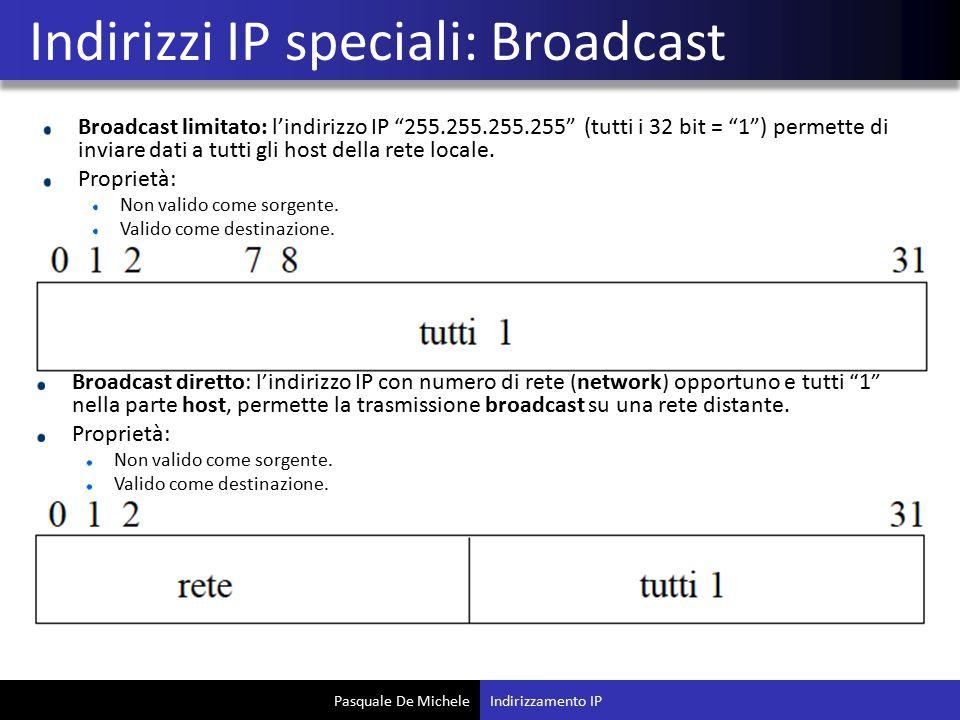 Indirizzi IP speciali: Broadcast