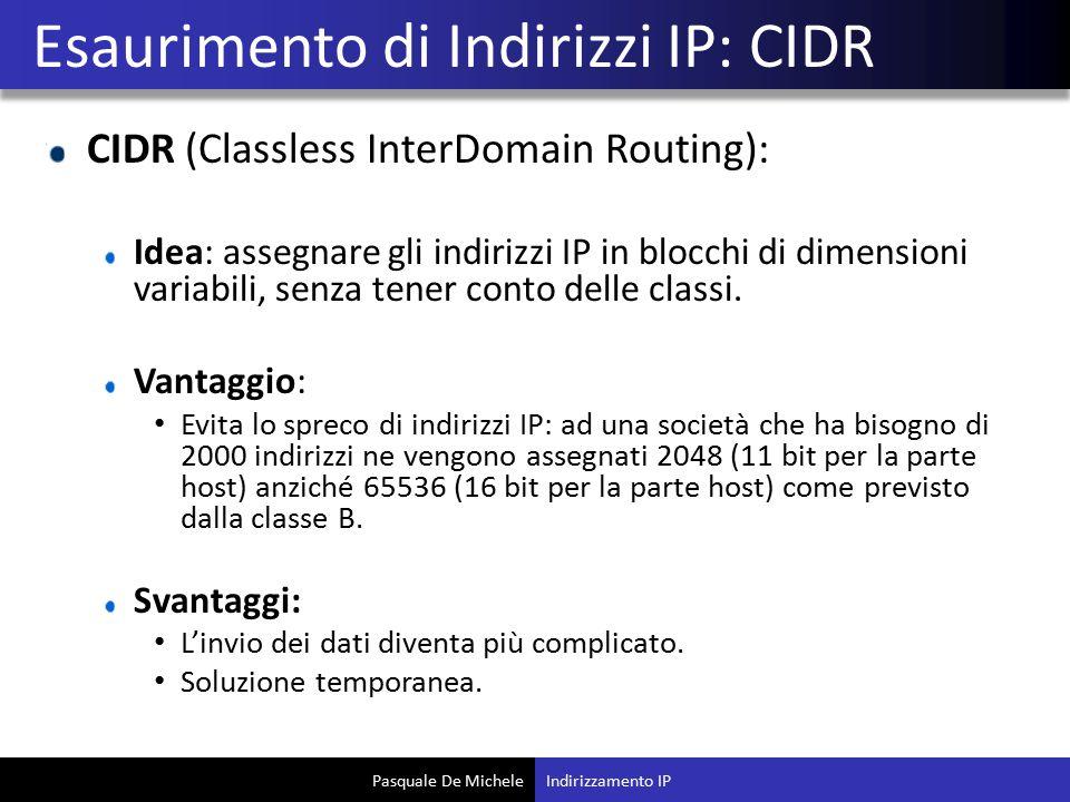 Esaurimento di Indirizzi IP: CIDR