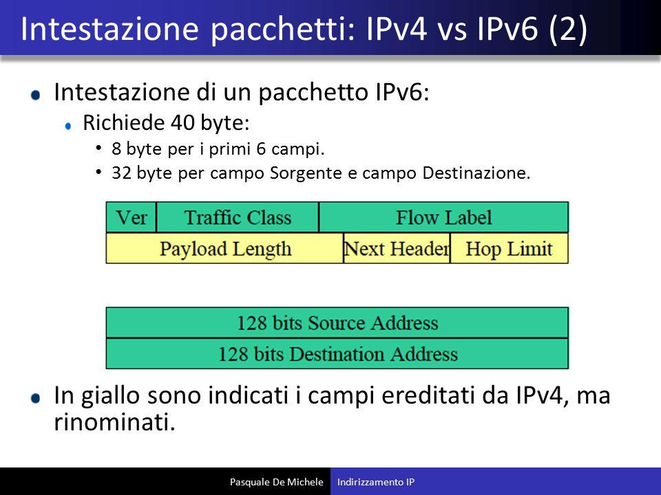 Intestazione pacchetti: IPv4 vs IPv6 (2)