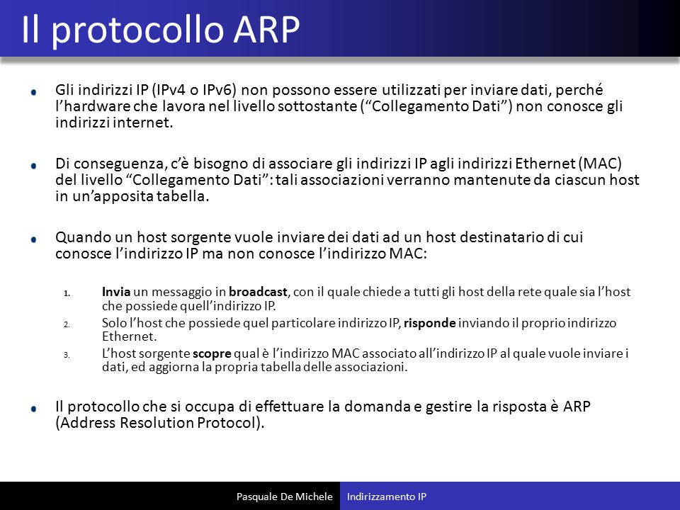 Il protocollo ARP