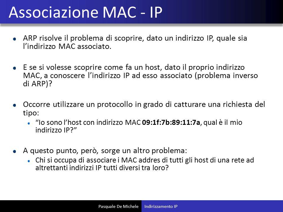 Associazione MAC - IP ARP risolve il problema di scoprire, dato un indirizzo IP, quale sia l'indirizzo MAC associato.
