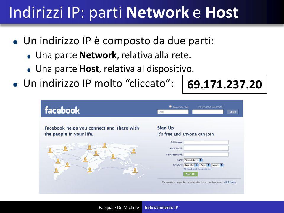 Indirizzi IP: parti Network e Host