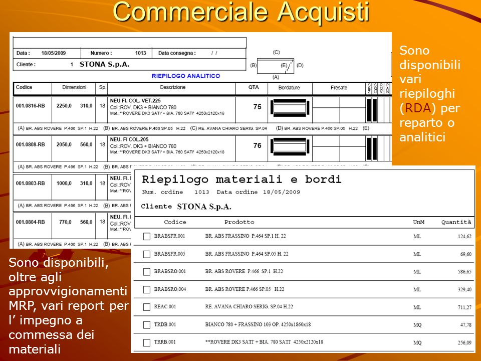 Commerciale Acquisti Sono disponibili vari riepiloghi (RDA) per reparto o analitici.