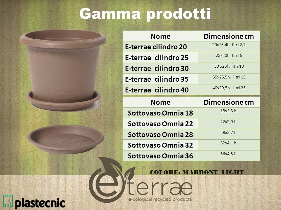 Gamma prodotti Nome Dimensione cm E-terrae cilindro 20