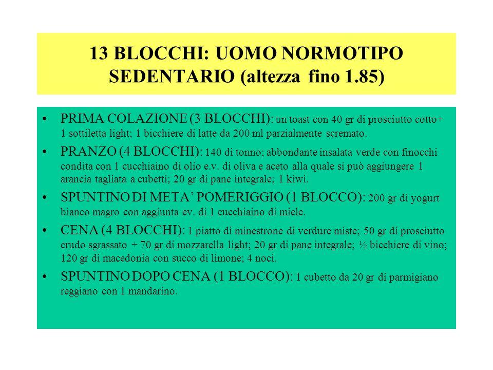 13 BLOCCHI: UOMO NORMOTIPO SEDENTARIO (altezza fino 1.85)
