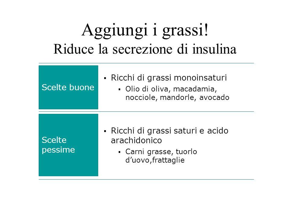 Aggiungi i grassi! Riduce la secrezione di insulina