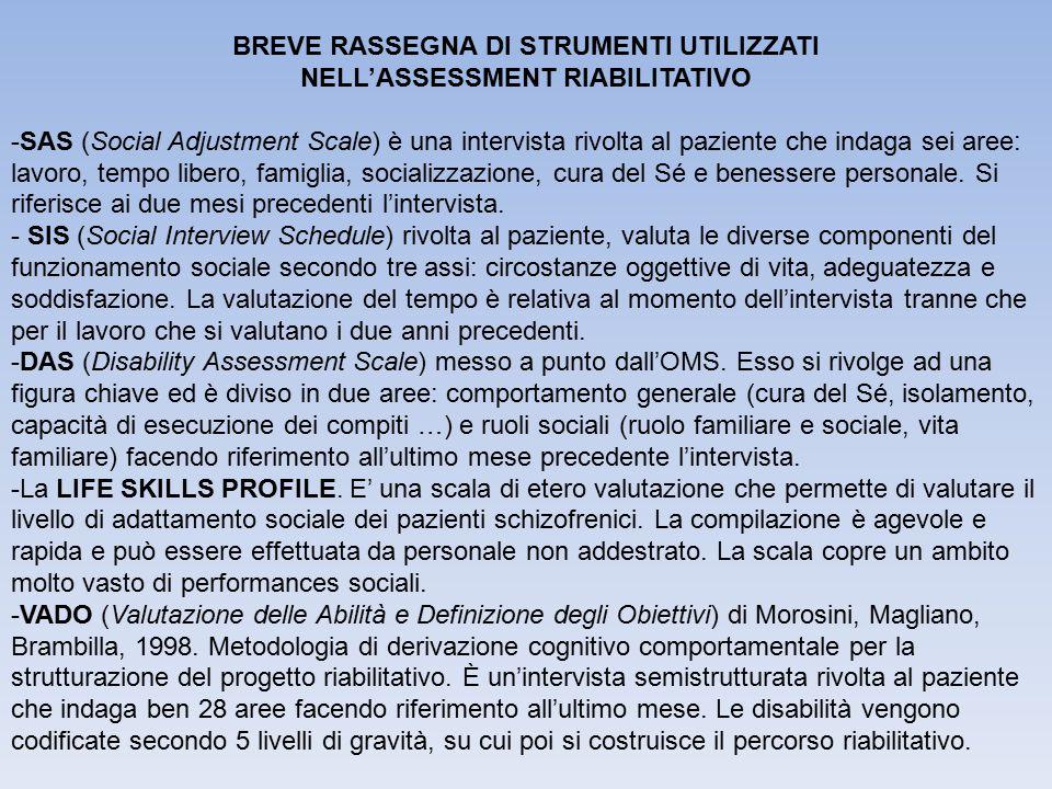 BREVE RASSEGNA DI STRUMENTI UTILIZZATI NELL'ASSESSMENT RIABILITATIVO
