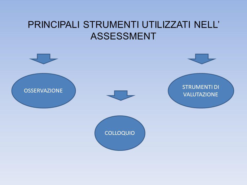 PRINCIPALI STRUMENTI UTILIZZATI NELL' ASSESSMENT