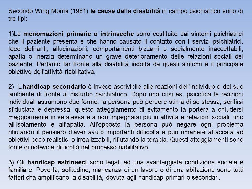 Secondo Wing Morris (1981) le cause della disabilità in campo psichiatrico sono di tre tipi: