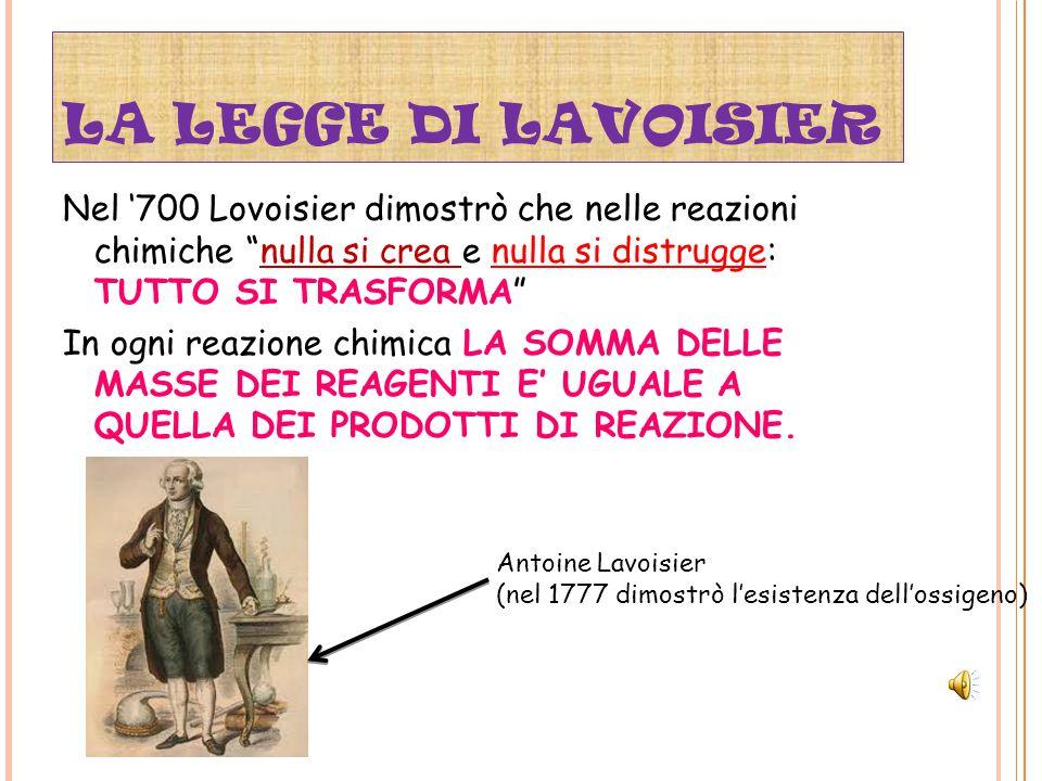 LA LEGGE DI LAVOISIER Nel '700 Lovoisier dimostrò che nelle reazioni chimiche nulla si crea e nulla si distrugge: TUTTO SI TRASFORMA