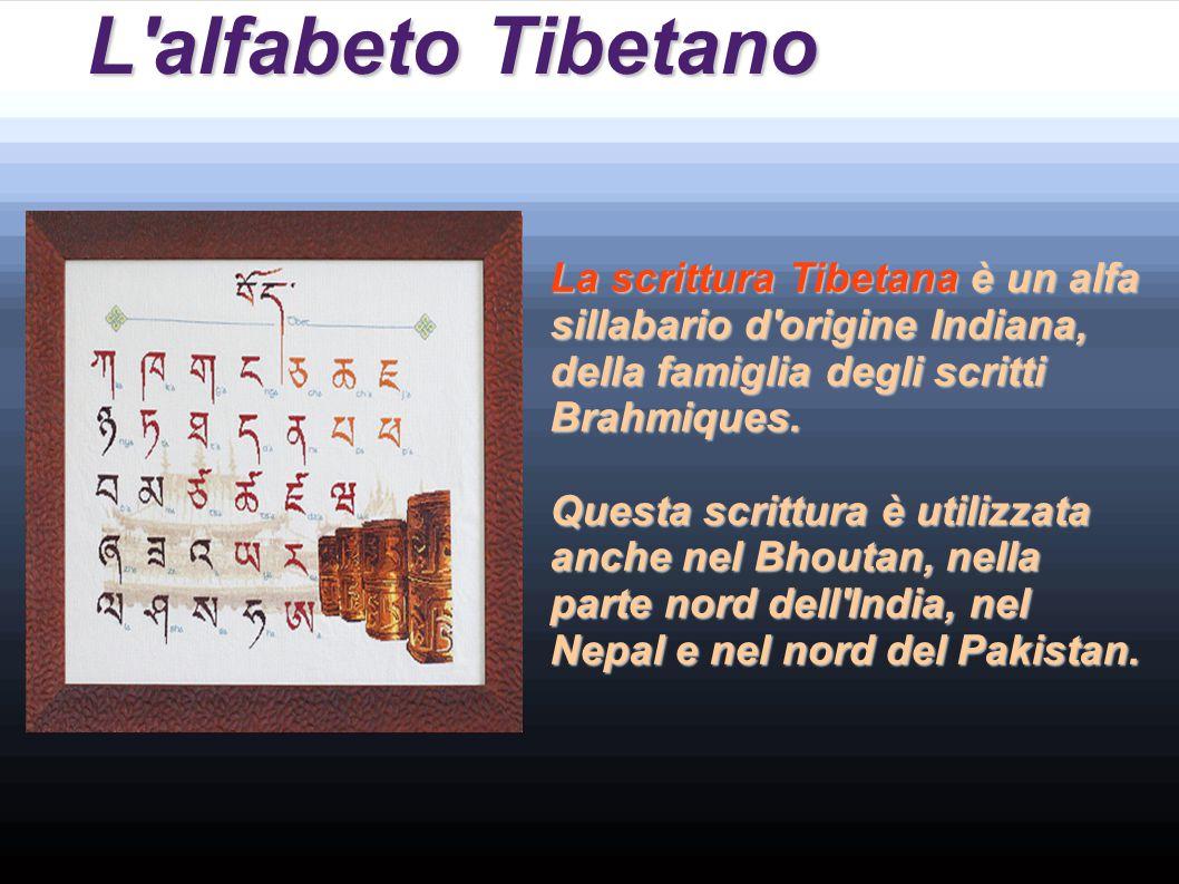 L alfabeto Tibetano La scrittura Tibetana è un alfa sillabario d origine Indiana, della famiglia degli scritti Brahmiques.