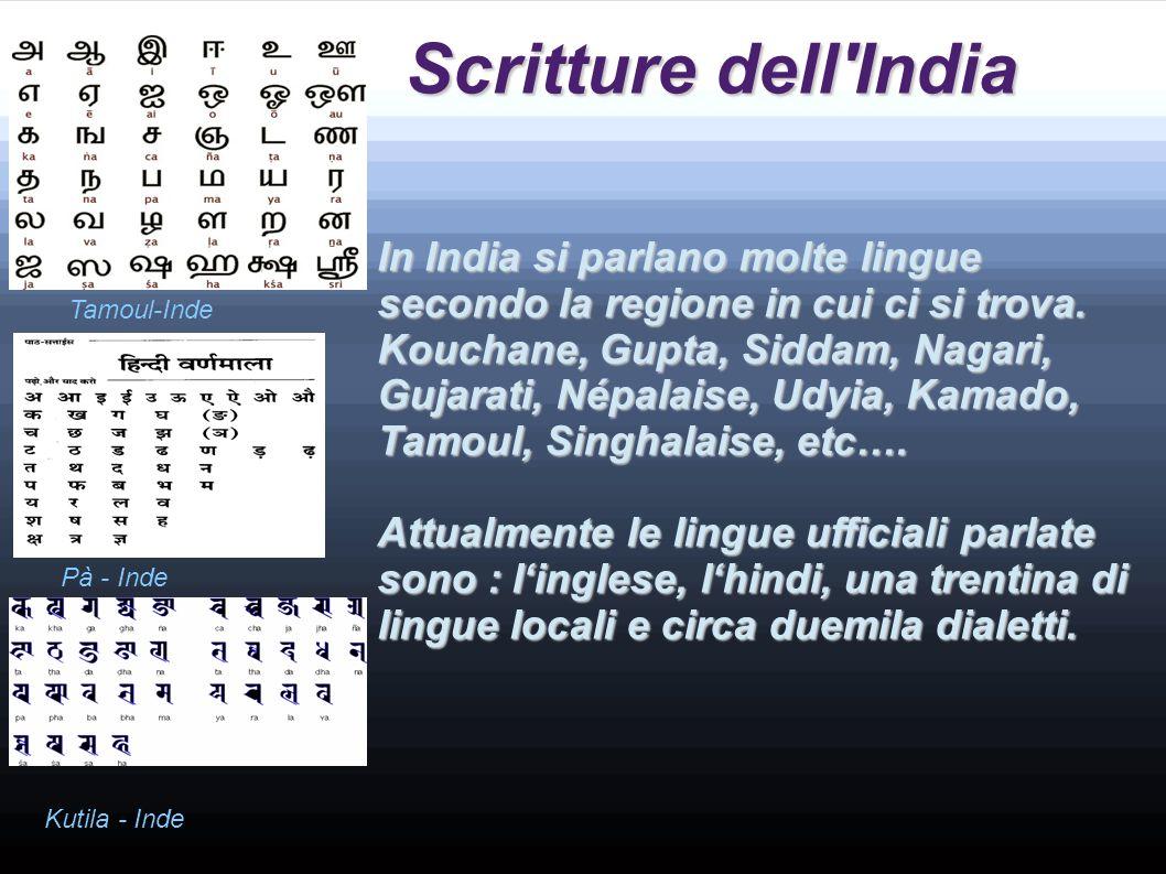 Scritture dell India In India si parlano molte lingue secondo la regione in cui ci si trova.