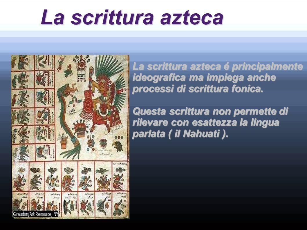 La scrittura azteca La scrittura azteca é principalmente ideografica ma impiega anche processi di scrittura fonica.