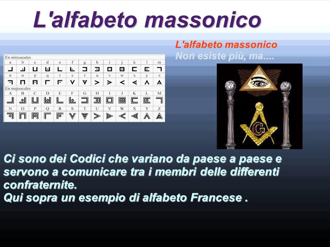 L alfabeto massonico L alfabeto massonico. Non esiste più, ma....