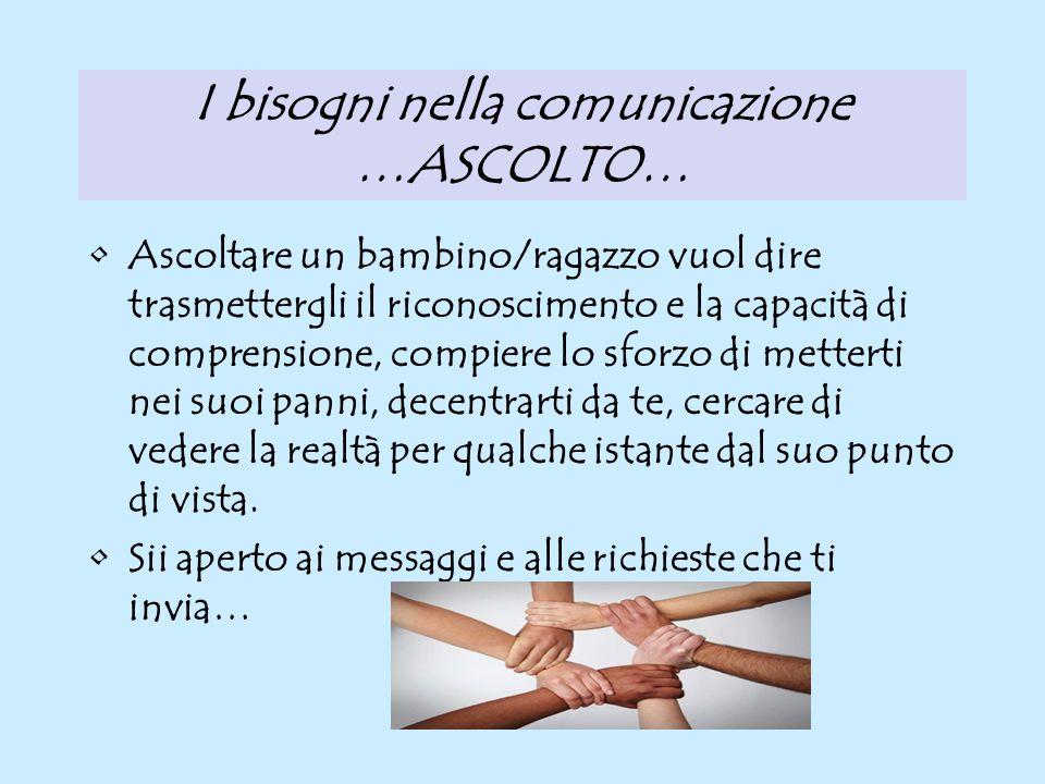 I bisogni nella comunicazione …ASCOLTO…