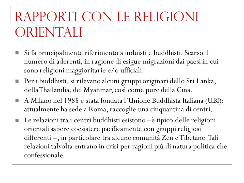 Rapporti con le religioni orientali