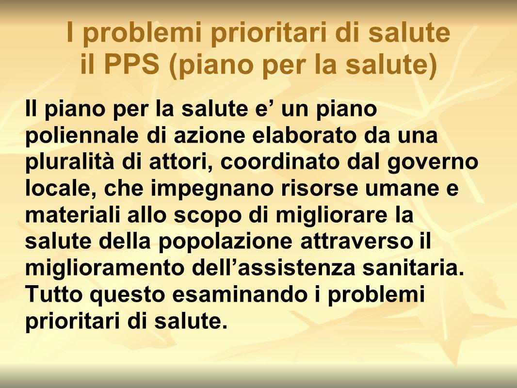 I problemi prioritari di salute il PPS (piano per la salute)
