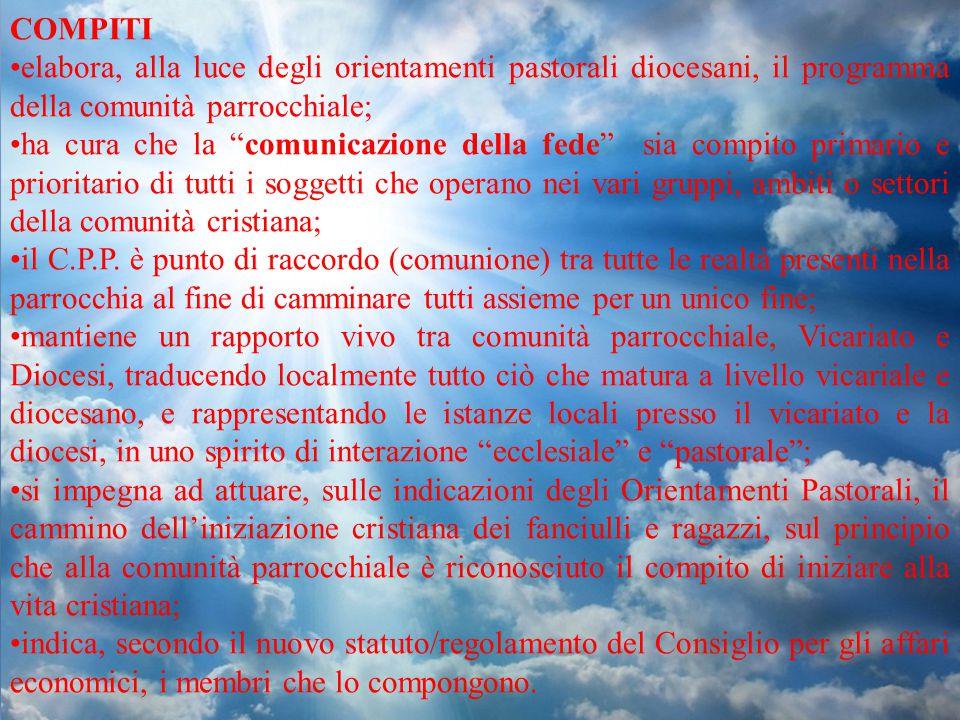 COMPITI elabora, alla luce degli orientamenti pastorali diocesani, il programma della comunità parrocchiale;