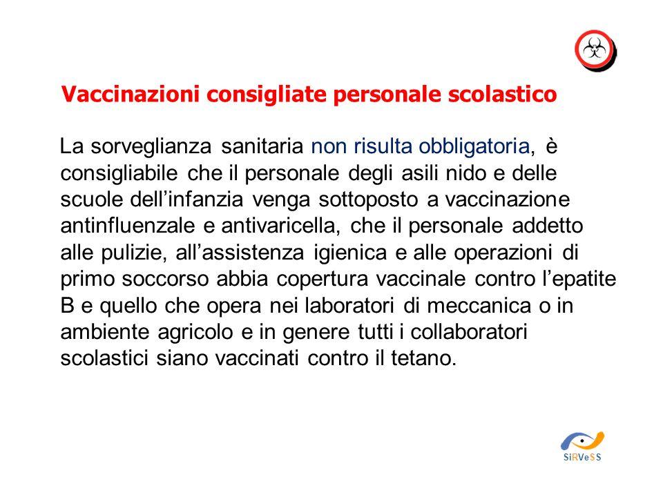 Vaccinazioni consigliate personale scolastico