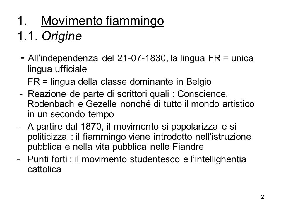 1. Movimento fiammingo 1.1. Origine