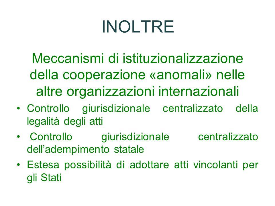 INOLTRE Meccanismi di istituzionalizzazione della cooperazione «anomali» nelle altre organizzazioni internazionali.