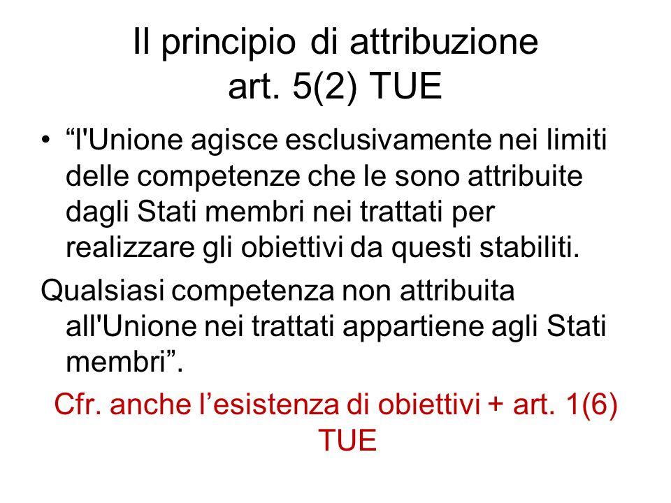 Il principio di attribuzione art. 5(2) TUE