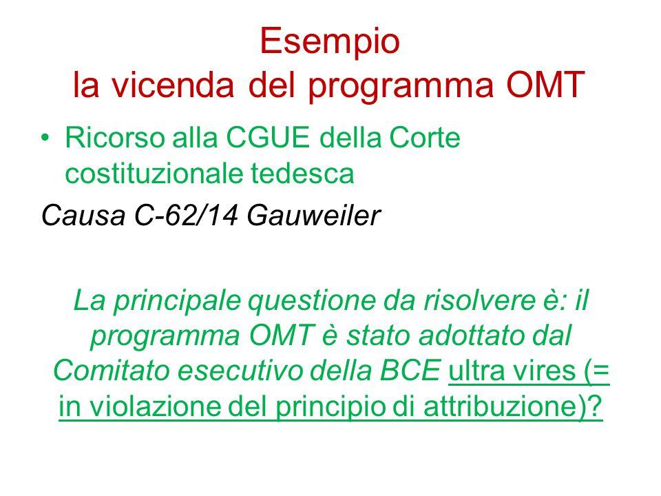 Esempio la vicenda del programma OMT