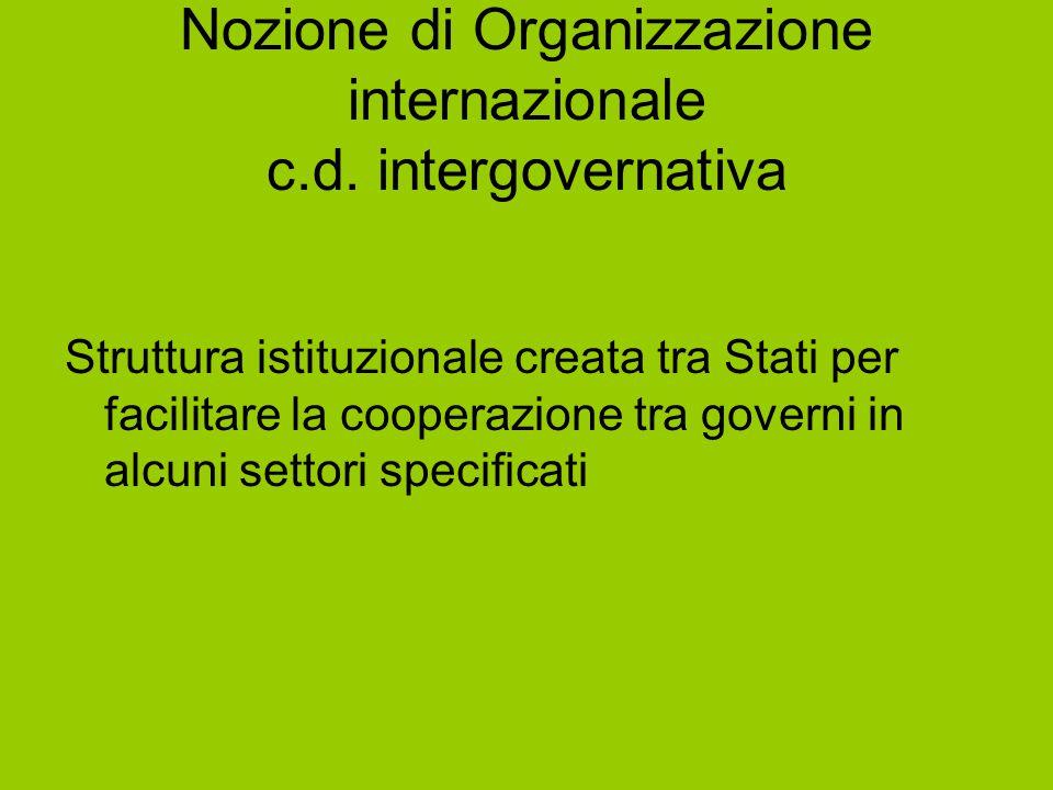 Nozione di Organizzazione internazionale c.d. intergovernativa