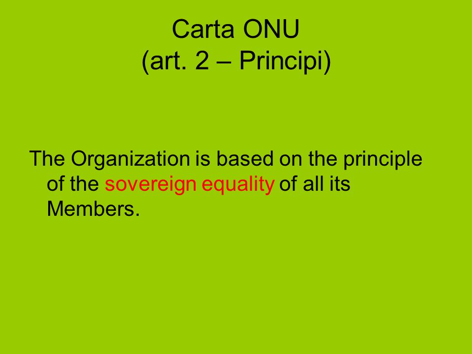 Carta ONU (art. 2 – Principi)
