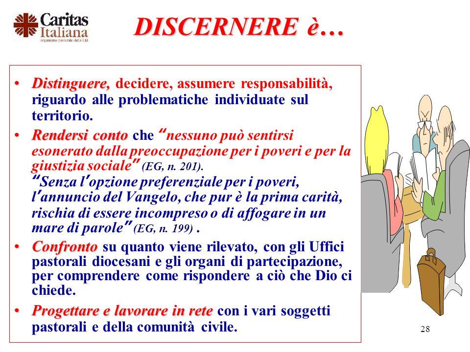 DISCERNERE è… Distinguere, decidere, assumere responsabilità, riguardo alle problematiche individuate sul territorio.