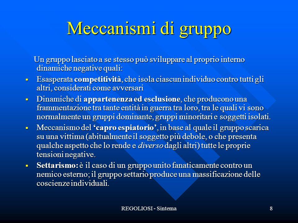 Meccanismi di gruppo Un gruppo lasciato a se stesso può sviluppare al proprio interno dinamiche negative quali: